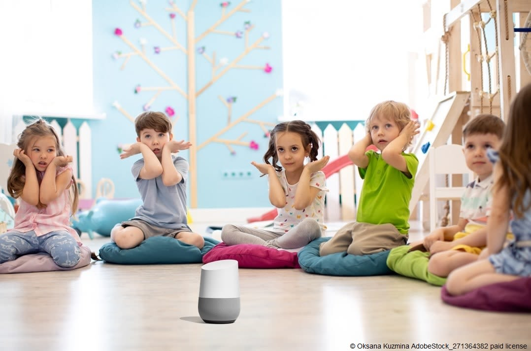 Kids using Google Home to rest and play