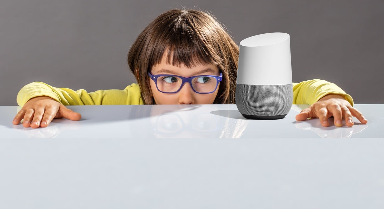 Google home for kids - kid using google home