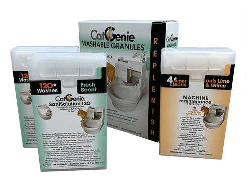 sanisolution cartridges and washable granules for cat genie